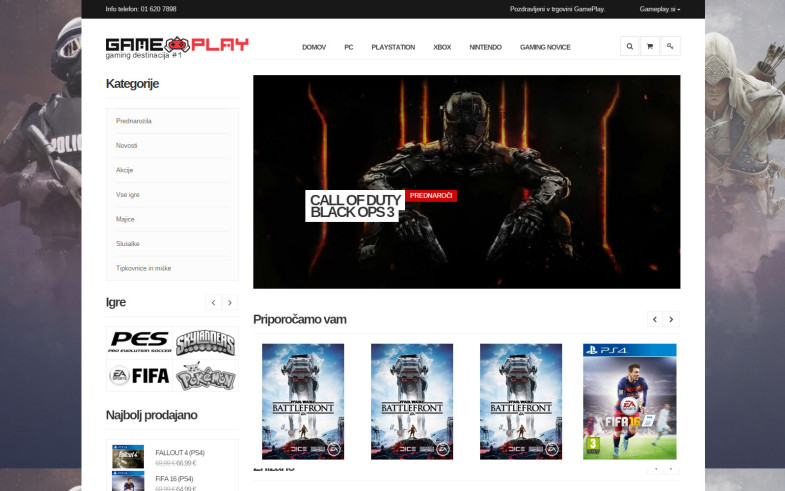 Spletna trgovina Gameplay