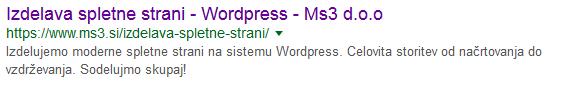 Prikaz zadetka spletne strani na Googlu